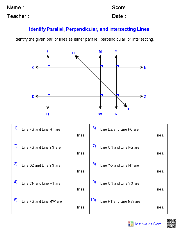 Identifying Parallel, Perpendicular, and Intersecting Linesfrom a ...