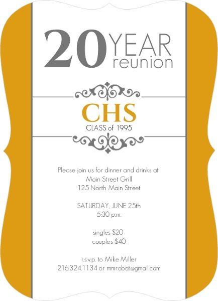 Classic Colors 20 Year Class Reunion Invitation by InviteShopcom