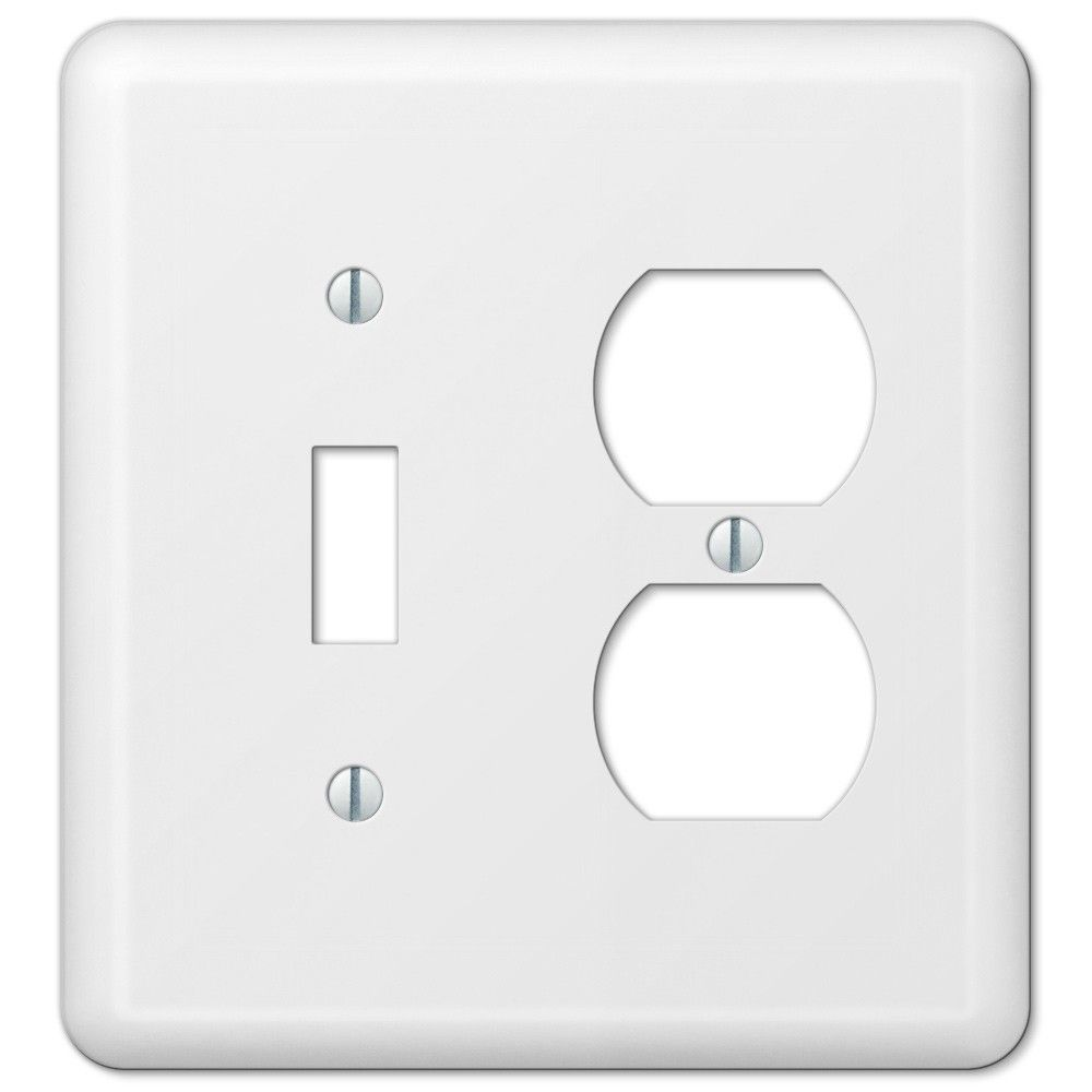 Lighting Wall Plates Amerelle Devon 935Tdw Toggle Switch Duplex Outlet Wall Plate Cover