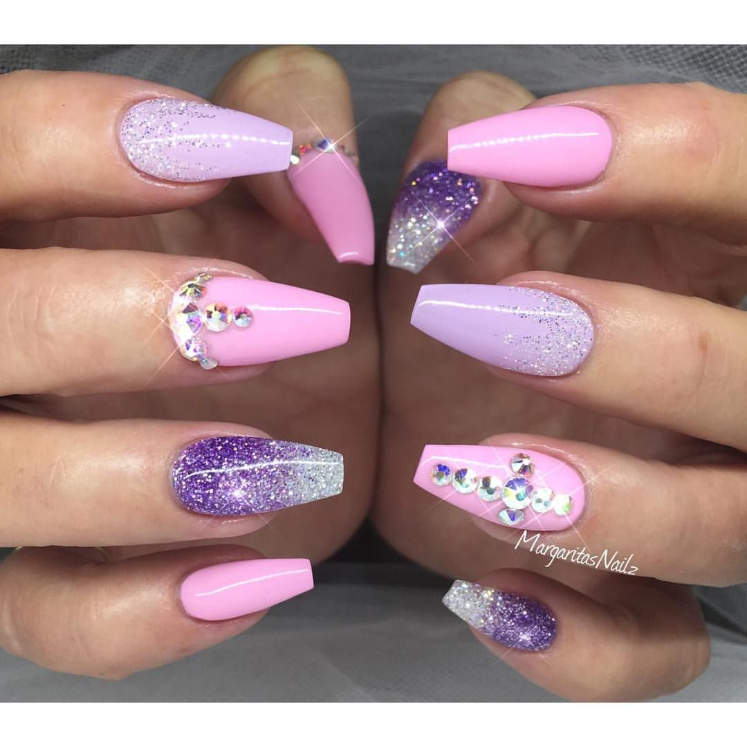 Baby Pink And Lavender Coffin Nails Gelnails Purple Gel Nails Coffin Nails Designs Pink Nails