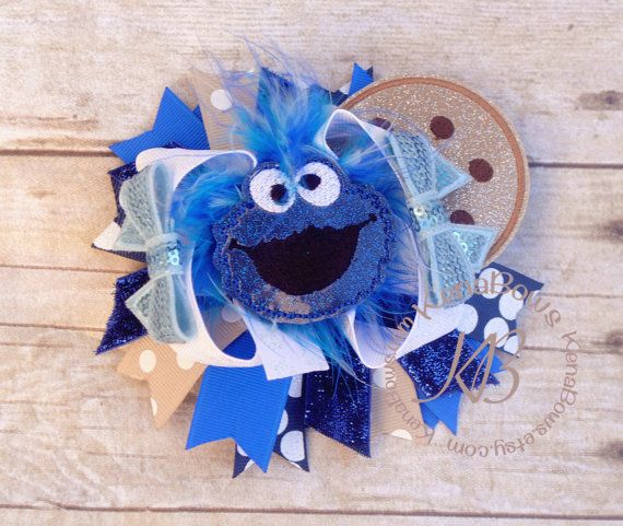 Cookie Monster Hair Bow Birthday Girl Hair Clip School by KenaBows