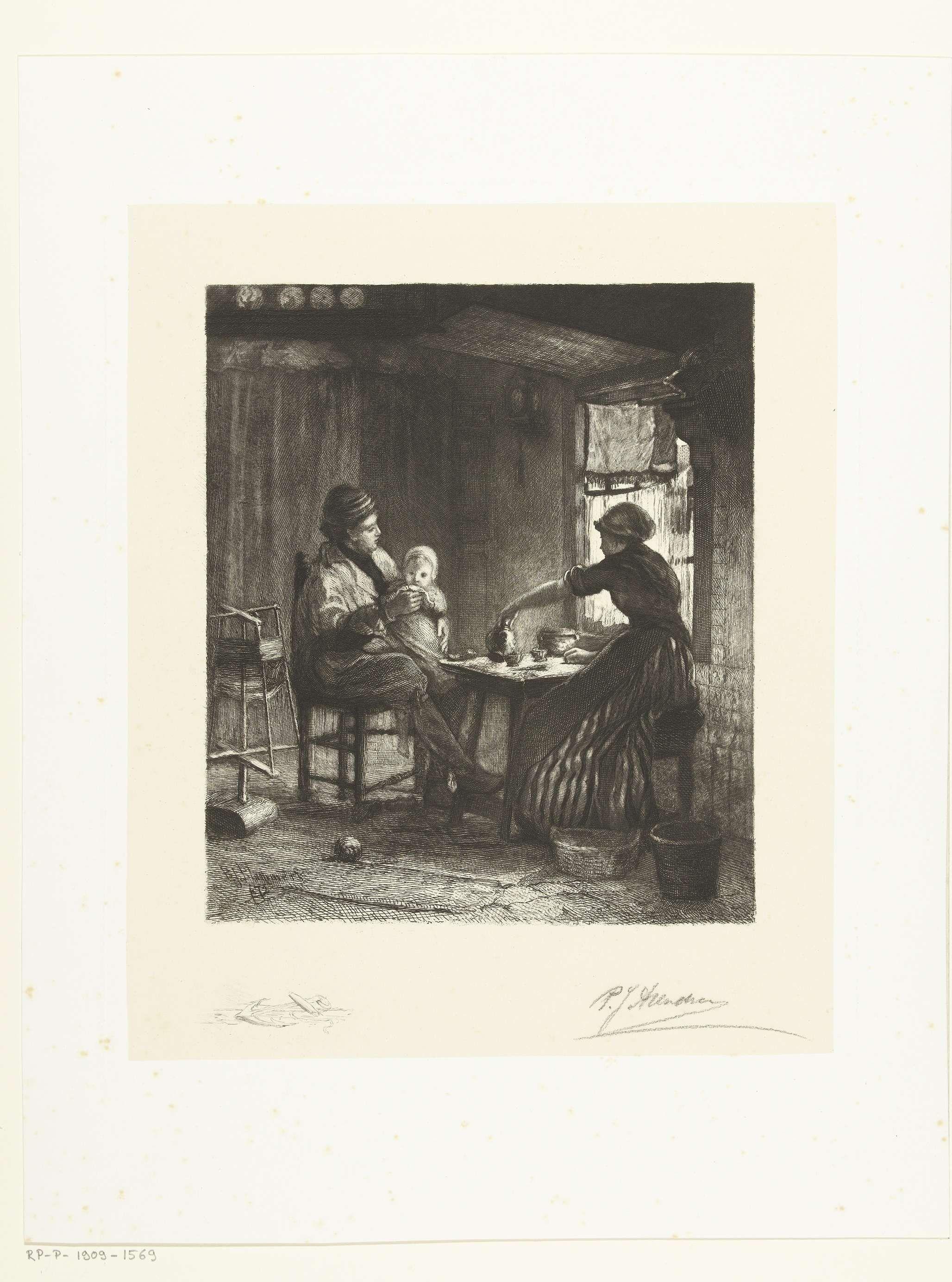 Petrus Johannes Arendzen | Vissersgezin aan het ontbijt, Petrus Johannes Arendzen, 1856 - 1909 | Interieur met een vissersgezin bij het ontbijt. Links staat een wolspin. In marge een anker.