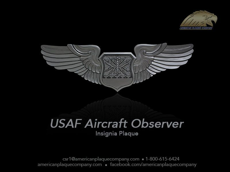 The #USAF Aircraft Observer insignia plaque. A gorgeous replica in solid mahogany, carefully hand carved and hand painted, and finished in metallic silver.