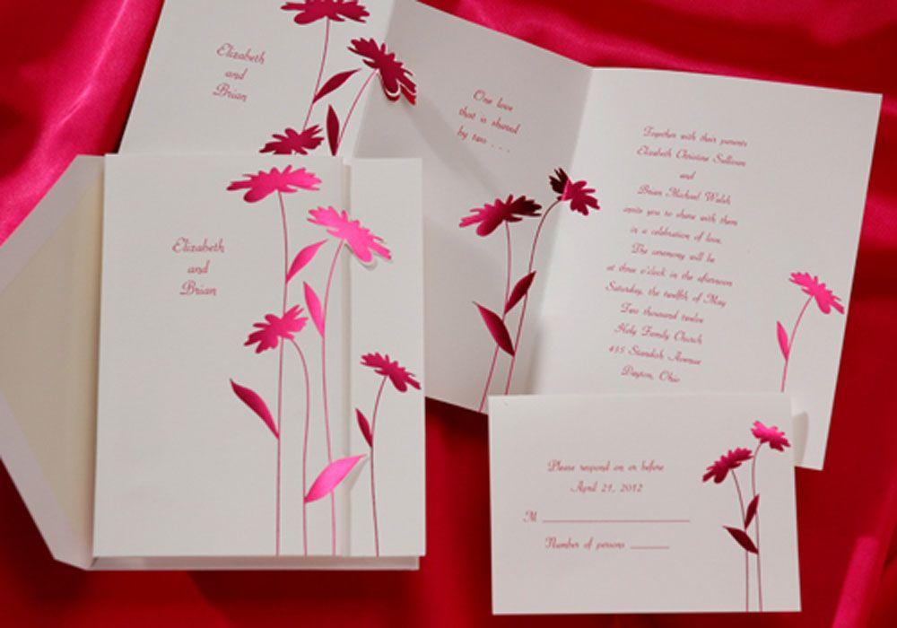 Wedding Invitation Hot Pink Daisies Set