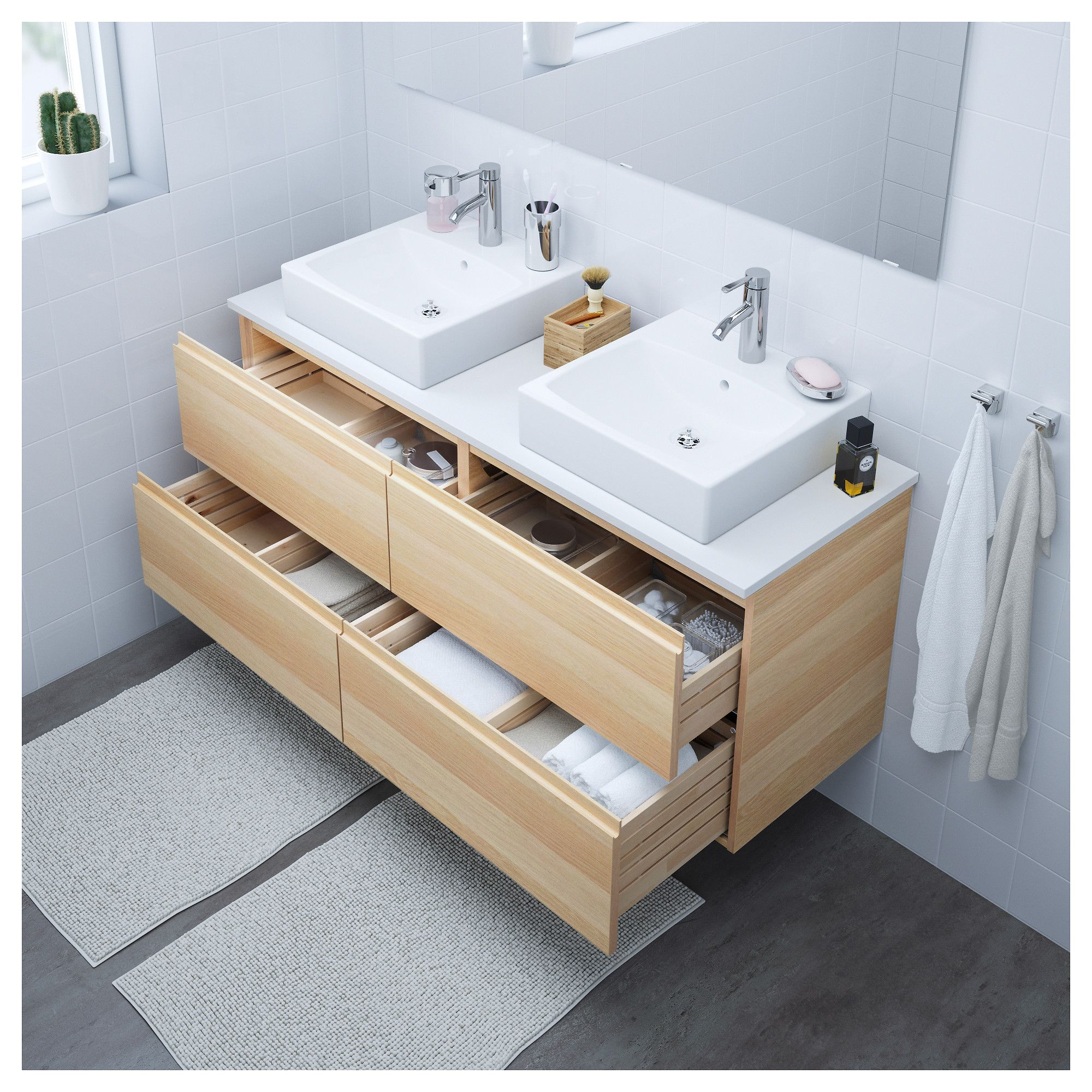 IKEA - GODMORGON Sink cabinet with 4 drawers white stained oak ...