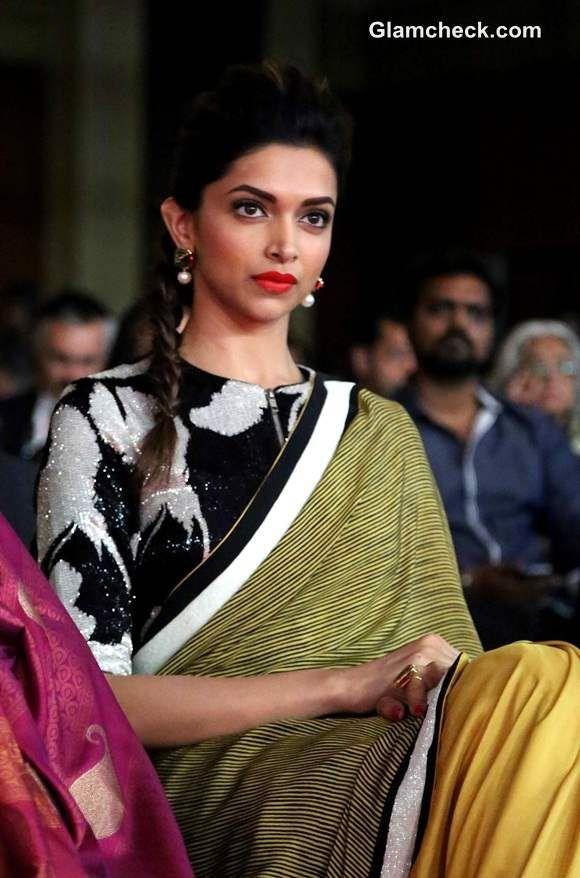 fcc0036740fb0b Deepika Padukone in Dev R Nil Sari at NDTV Indian of the Year Awards ...