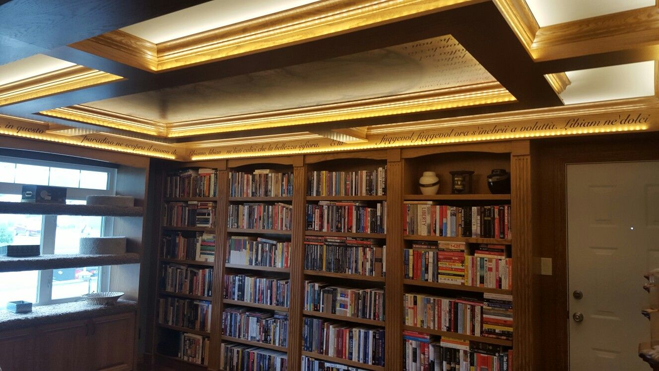 Final results of reno. Coffered ceiling in library with ...