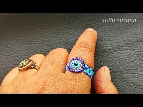 ⚜️Nazar/ Evil Eye🧿 Seed beads Ring/ Anillo Tutoria