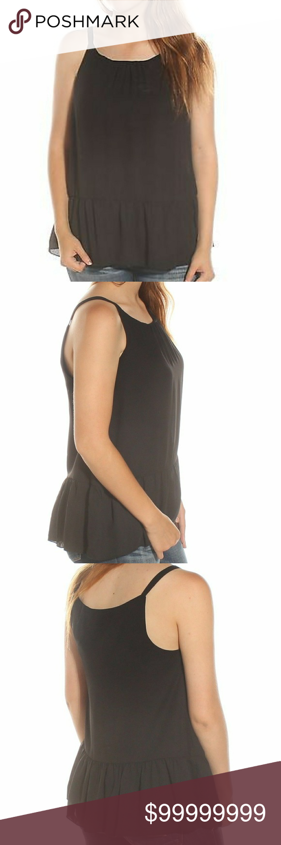 """🖤KENSIE~🖤TANK TOP Flowing, casual style oh so effortlessly is this beautiful scoop neck, ruffle hem, sheer black tank from Kensie❗😍  Total Length Approx. 25""""/Bust 20""""...100% polyester.  This versatile, lightweight tank top can be your work hard day or nighttime play fun favorite piece❗💋 KENSIE Tops Tank Tops"""