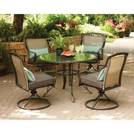 Aqua Glass 5 Piece Patio Dining Set, Seats 4