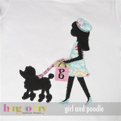 Hang to Dry Girl with Poodle Applique Embroidery Design