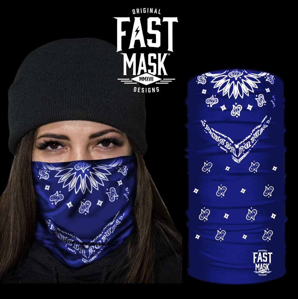Blue Bandana Fast Mask Face Mask - *Now - With Sewn Edges*