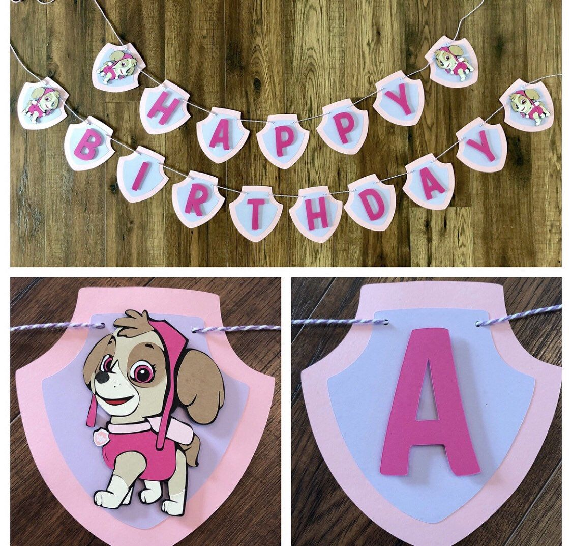 Paw Patrol Banner, Paw Patrol Birthday Banner, Birthday Party Decor, Paw Patrol Decor, Paw Patrol Birthday - Paw patrol decorations, Paw patrol banner, Skye paw patrol party, Paw patrol birthday, Birthday banner, Birthday party decorations - Hand made Need matching decor in this theme but don't see it in my shop  Message me so that I can create something for you! I love custom orders! PLEASE PROVIDE DATE NEEDED BY IN COMMENTS TO SELLER! Details  All items in photos sold individually    Make your selection from purchase option menu   Characters printed on card stock & machine cut    Pennant colors and characters can be customized  Message seller before placing your order   LEGAL DISCLAIMER This item is not a licensed product  All copyrights and trademarks of the character images used belong to their respective owners and are not being sold with this listing  You are paying for my time, services and supplies used to create, customize and assemble this handmade piece for your own personal use