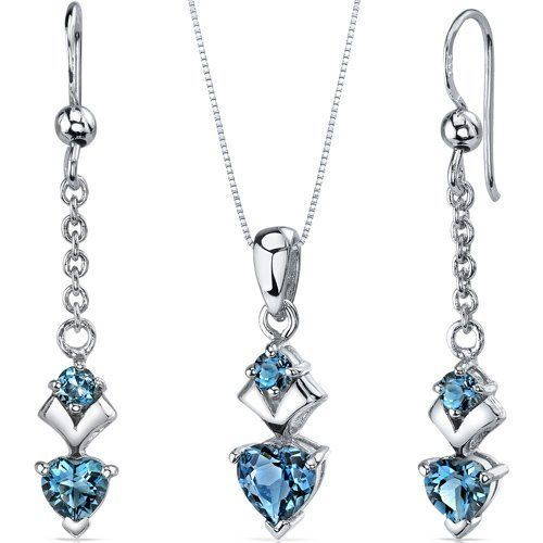 Heart Shape 2.75 carats Sterling Silver with Rhodium Finish London Blue Topaz Pendant Earrings Set Peora. $39.99. Save 75%!