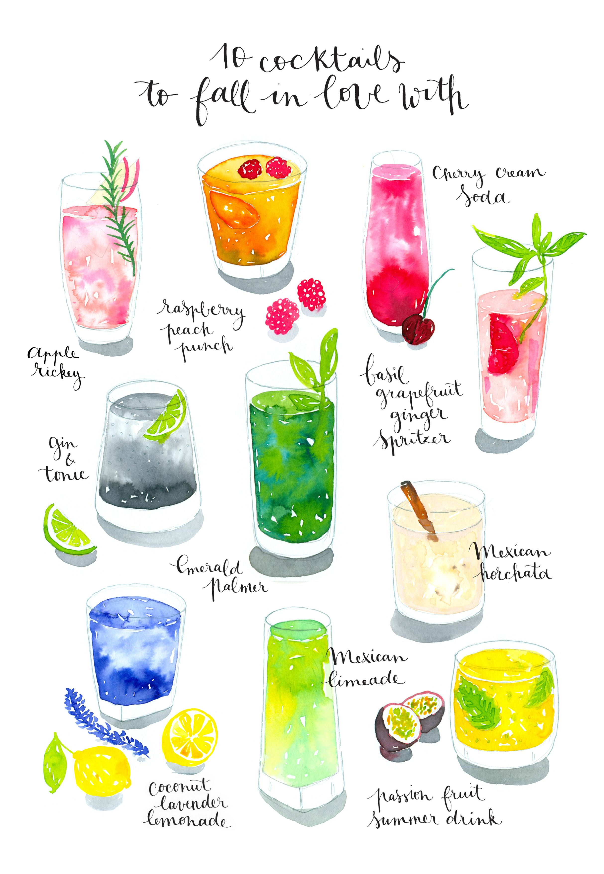 New Work Watercolor Cocktails Cocktail Illustration Watercolor