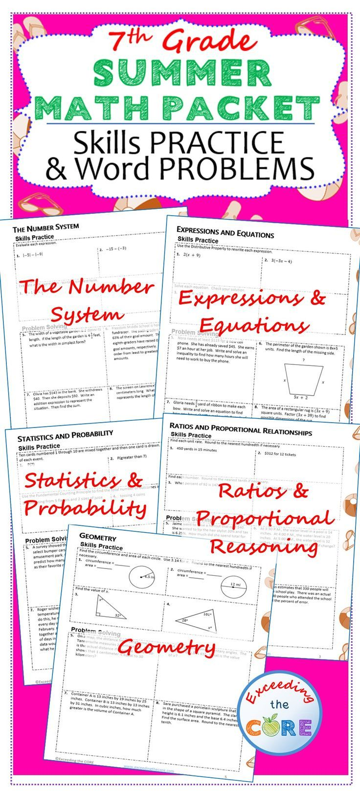 7th Grade SUMMER / June  July MATH PACKET  { COMMON CORE Assessment }  ***All things