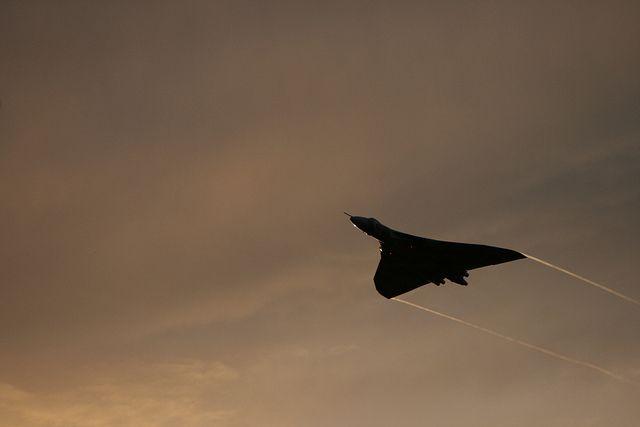 Avro Vulcan at sunset.