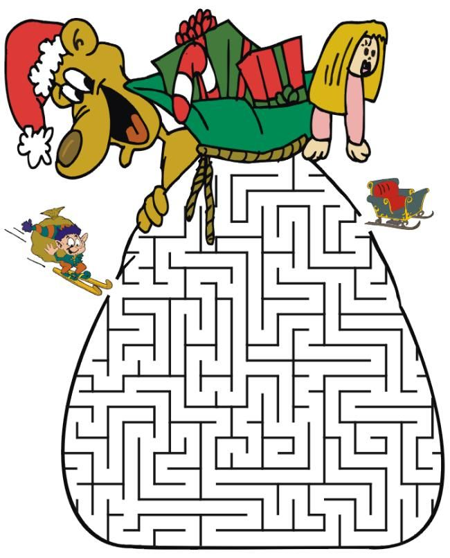 interesting free christmas activities and games for kids santa sack maze - Free Printable Games For Kids