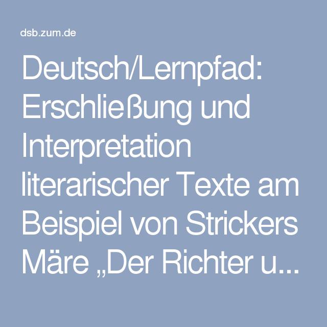 Deutschlernpfad Erschließung Und Interpretation Literarischer