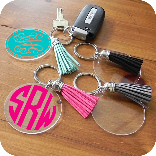 Acrylic Disc Keychain With Tassel Cricut Projects Vinyl Acrylic Keychains Things To Sell