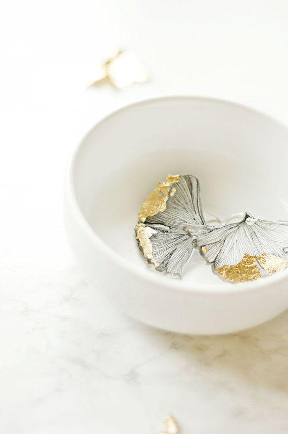Ginkgo Leaf Earrings Goldleaf Spring by WellnestingOddities