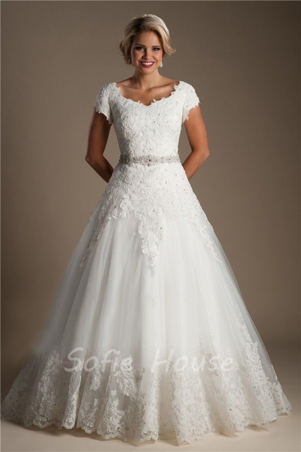 Classic Ball Gown Cap Sleeve Tulle Lace Modest Wedding Dress