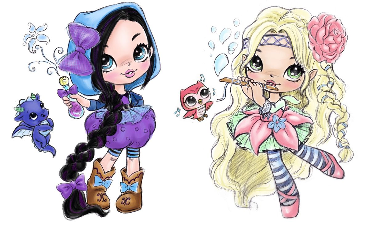 Little Charmers On Behance Little Charmers Cute Cartoon Girl Character Drawing