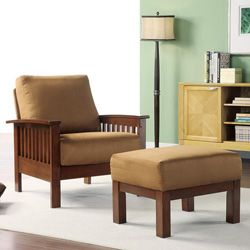 Hills Mission-style Oak/ Rust Chair and Ottoman
