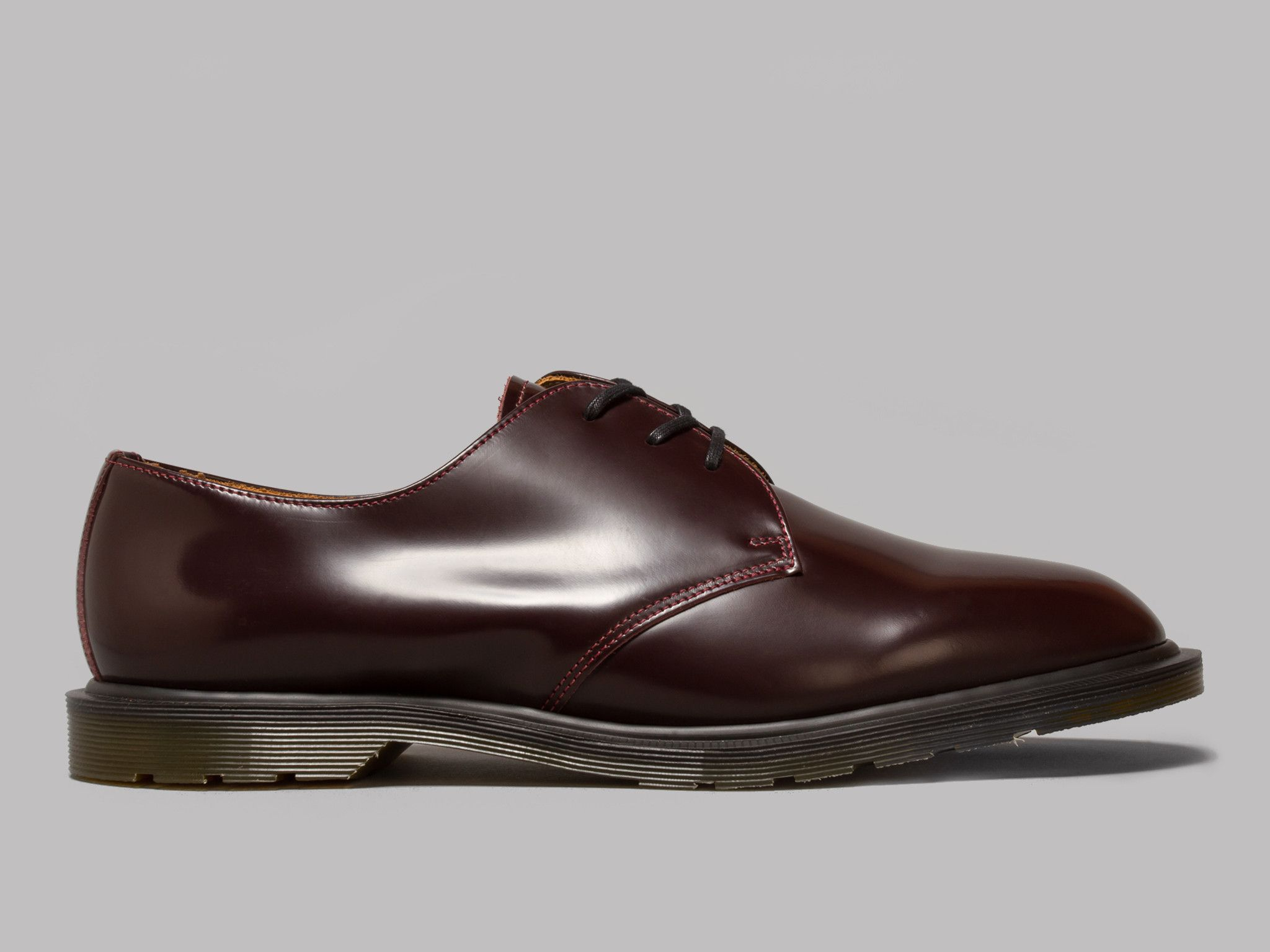 Dr Martens Made In England Steed Shoe Oxblood Polished Smooth