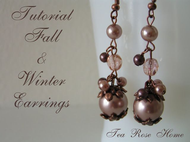 Tutorial Fall&Winter Earrings some head pins, and eye pins 2 earring wires 4 bead caps 2 large pearls 2 medium pearls 2 fire-polished crystals 8 small pearls