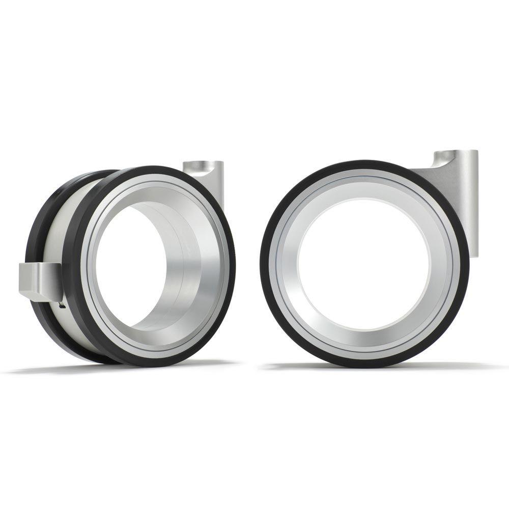 Hub-less casters, aluminium, rubber