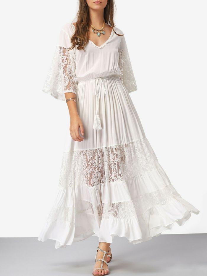 1001 Ideas De Vestidos Ibicencos Que Te Van A Encantar - Vestido-blanco-largo-ibicenco