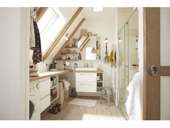 Une Salle De Bains Sous Pente Dans Moins De 4 M Leroy Merlin Appartment Decor My Home Design Bathroom Design