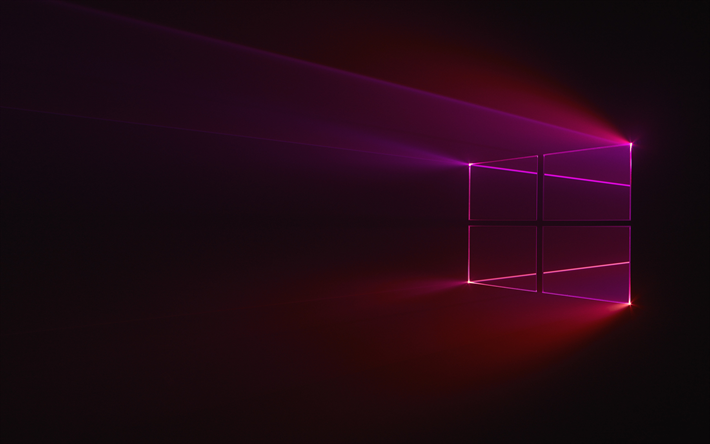 Download wallpapers Windows 10, purple logo, dark