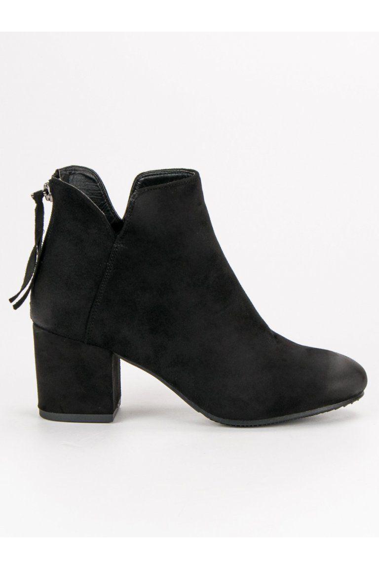 Čierne topánky semišové členkové čižmy VINCEZA  ba20c71be72