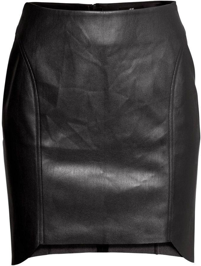 h m imitation leather skirt black