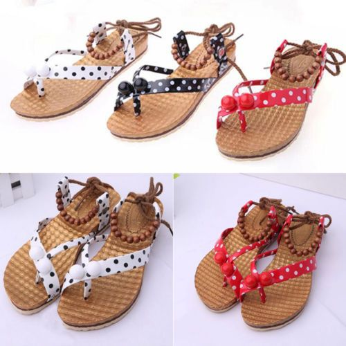 New-Womens-Summer-Beach-Polka-Dot-Bandage-Flip-Flops-Flat-Shoes-Toe-Post-Sandals