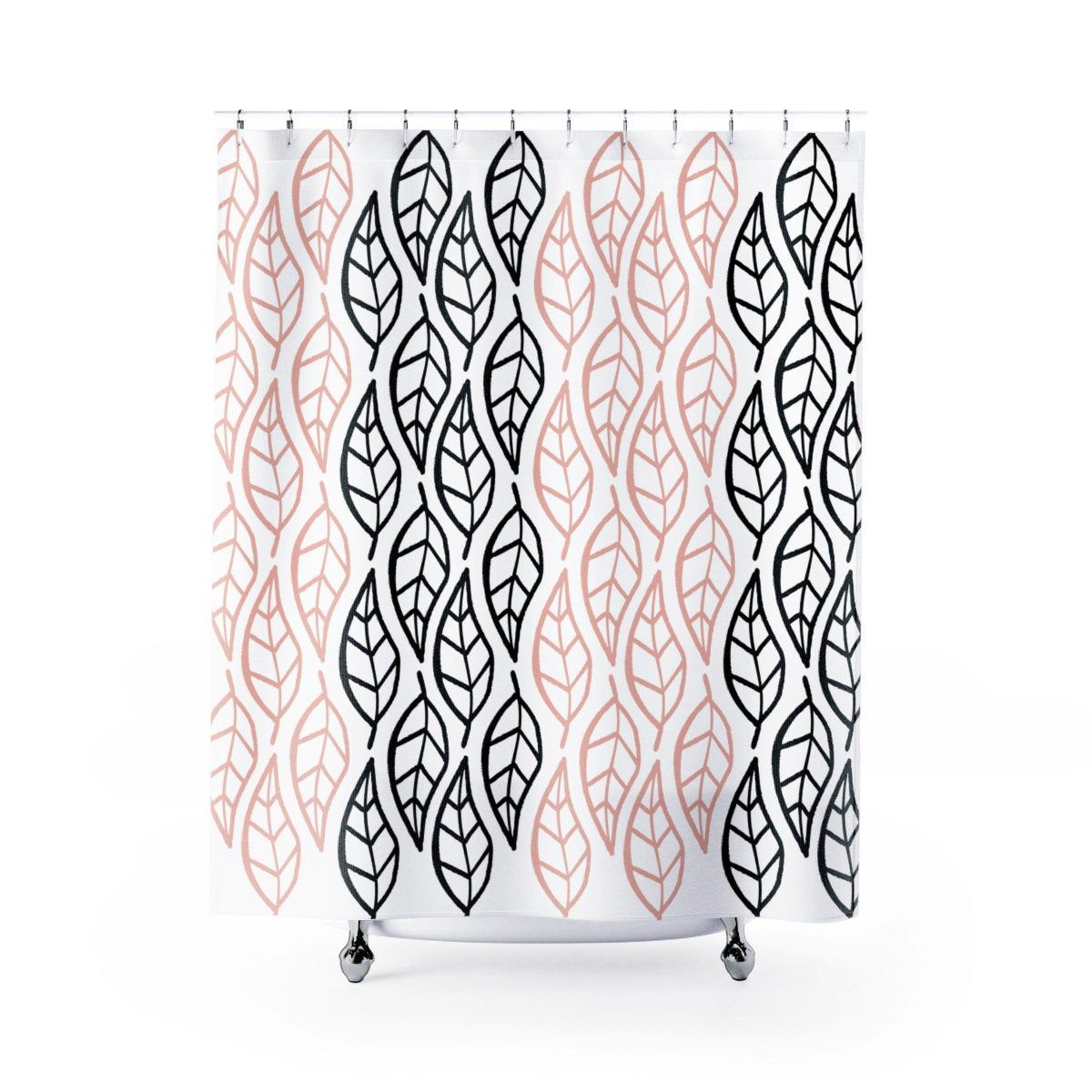 Yellow Bathroomideas: Pink And Black Leaves Shower Curtain