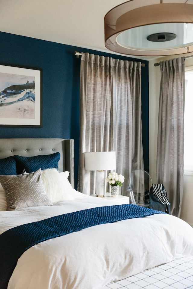 Blue And Silver Gray Modern Glam Bedroom Blue Bedroom Walls