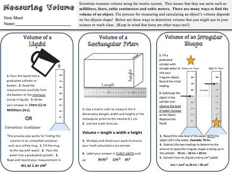 Volume Practice Freebie Science Classroom Science Lessons Matter Science