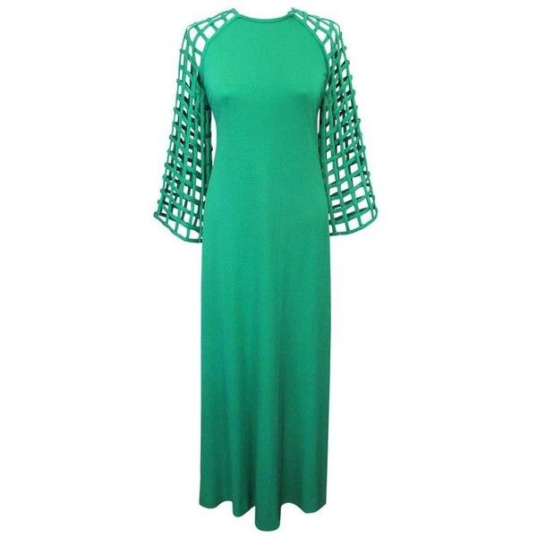 Preowned 1970\'s Bill Blass Spring Green Lattice Work Evening Gown ...