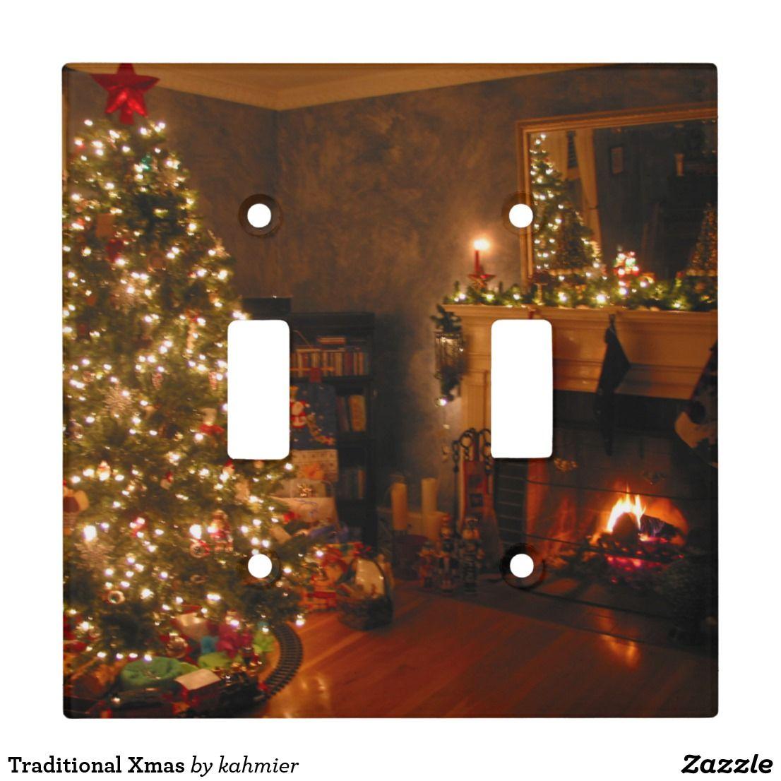 Traditional Xmas Light Switch Cover Zazzle Com Christmas