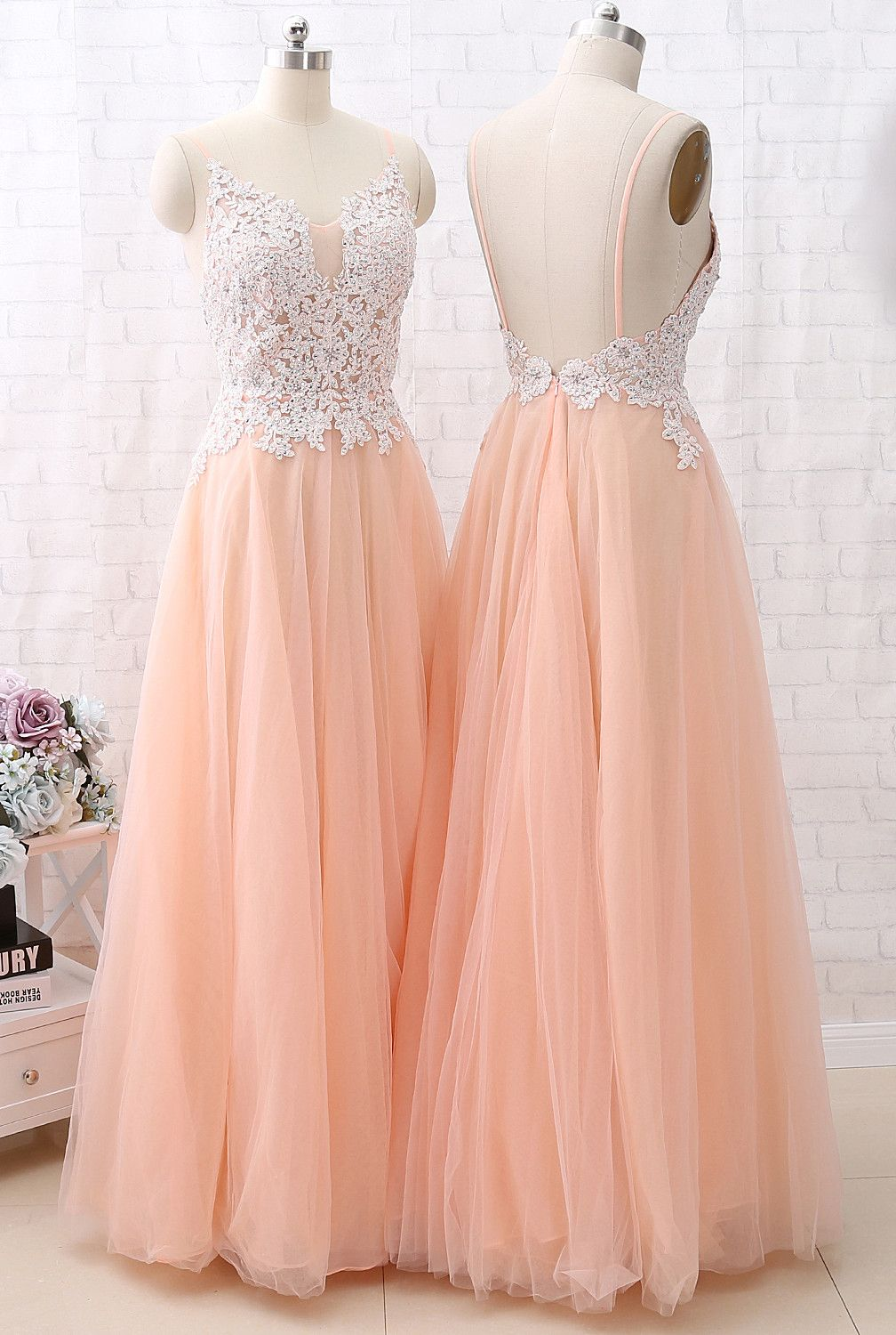 57661977f5ee MACloth Straps V Neck Lace Tulle Blush Pink Prom Dress Formal Evening Gown # lace #