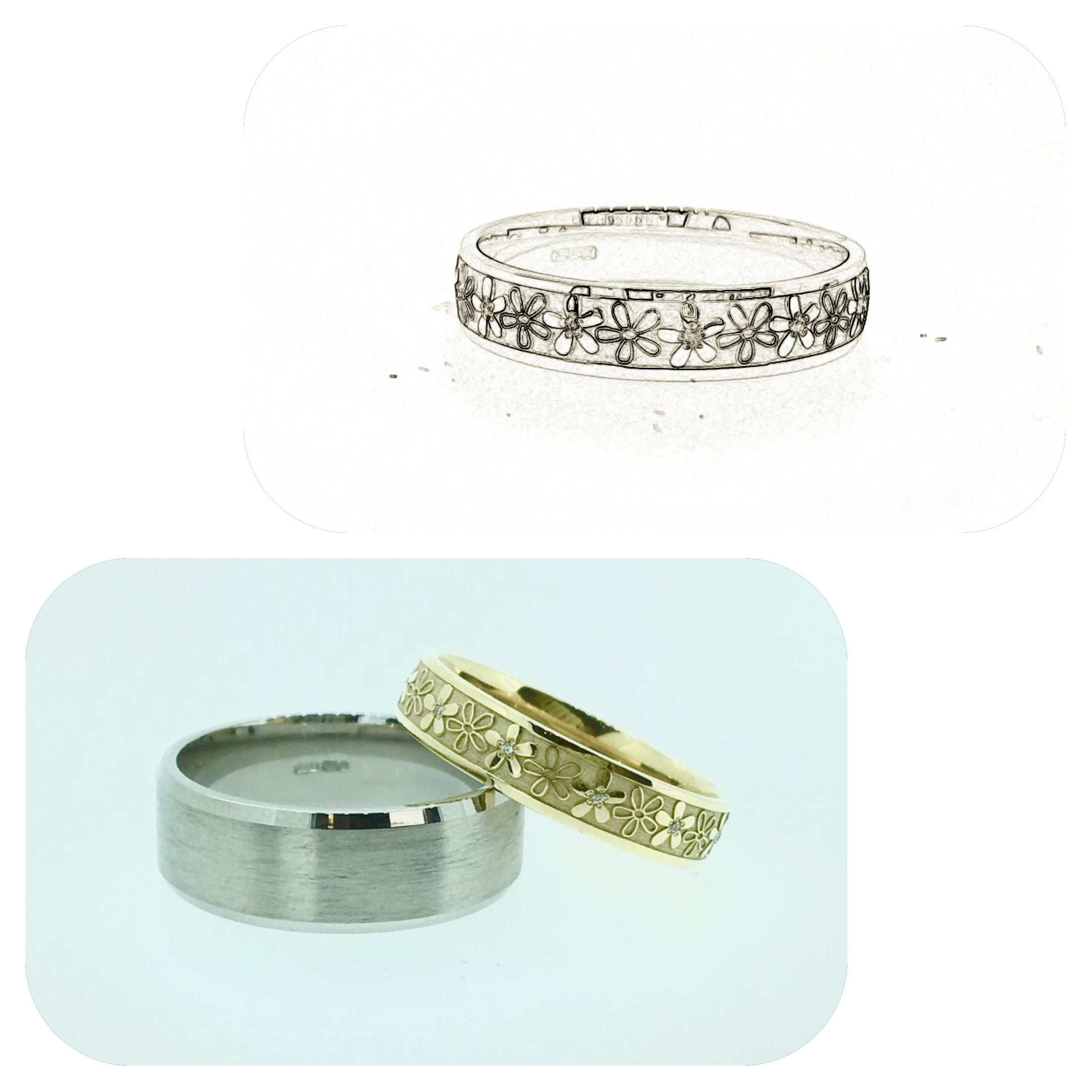 From concept to creation, flower inspired wedding ring