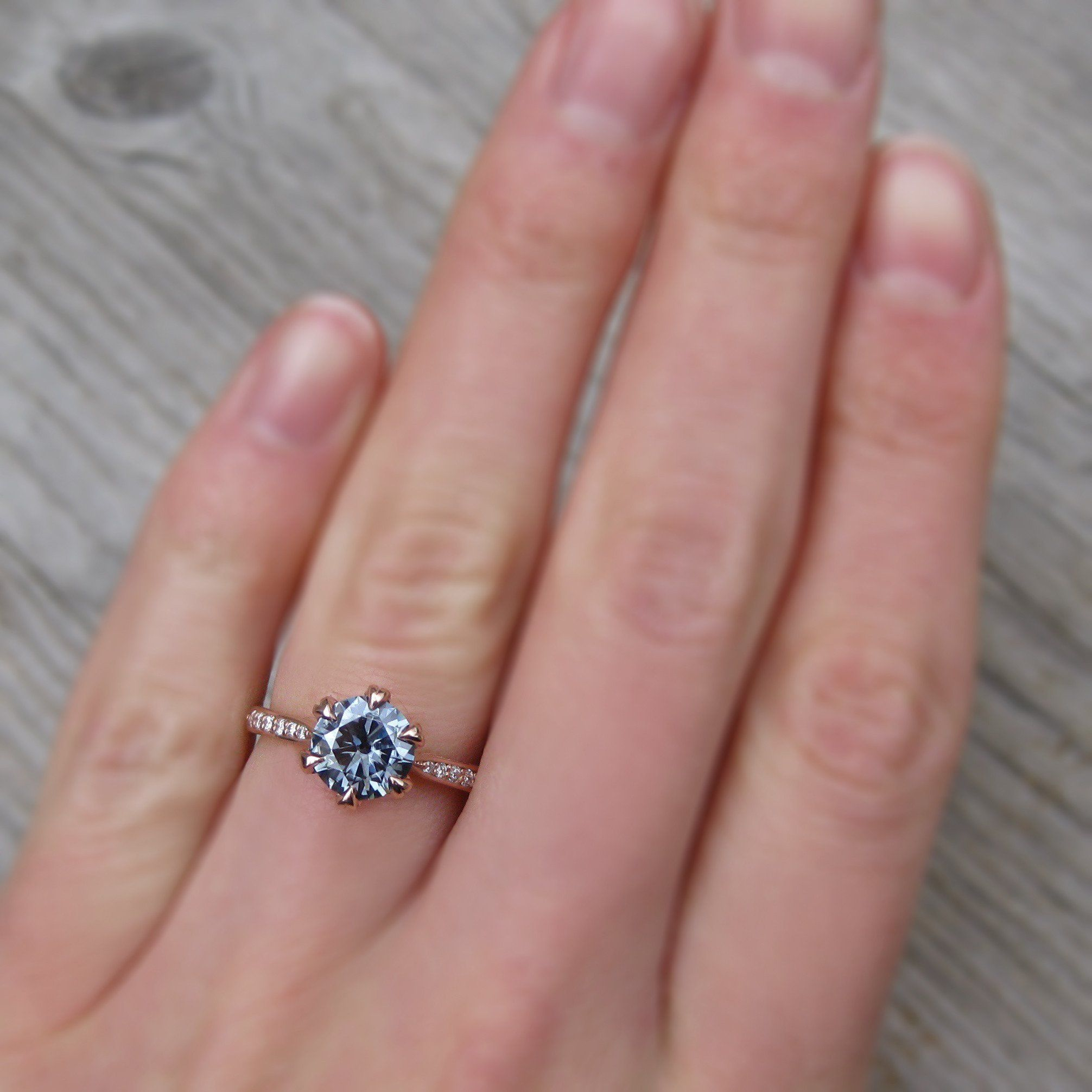 Ethical engagement ring with a 1ct grey moissanite and conflict-free ...