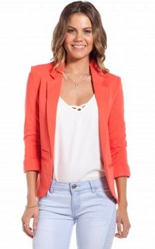 After Hours blazer in coral