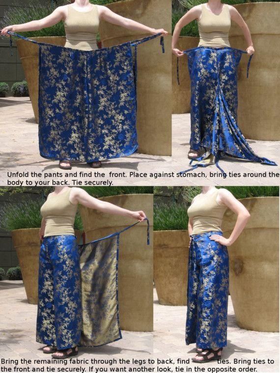 Wrap Pants in Blue Sari Fabric OOAK | Stoffe, Schnittmuster und Nähen