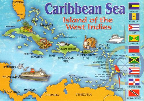 Caribbean Sea Map Postcard Caribbean Sea Caribbean And Bon Voyage - Map of caribbean