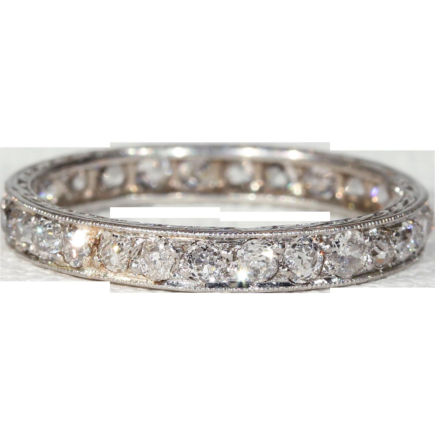 Vintage Edwardian Diamond Eternity Band Platinum Wedding