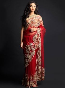b8064ca654 Indian Wedding Fashions. Burgundy jaal saree with embroidered blouse ...